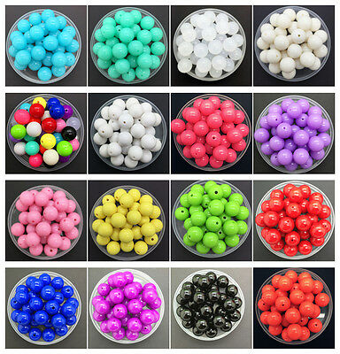 New 6/8/10/16/20/25mm DIY Acrylic Round Pearl Spacer Loose Beads Jewelry Making