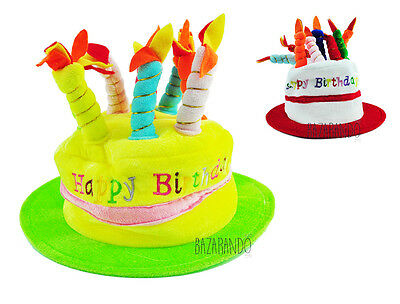 Cappello Compleanno Happy Birthday Candele Candeline Party Feste Bambini Peluche