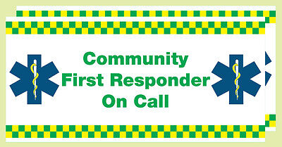 Community First Responder on call. (Vehicle Window Stickers) x 2. Size 410x200mm