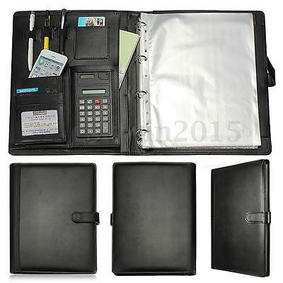 Leather Executive Business Conference Portfolio Folder W/ Calculator Organiser