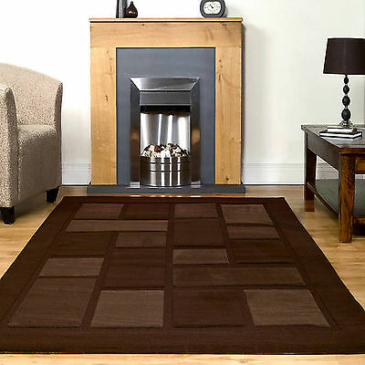 QUALITY Visiona RUGS - SMALL TO EXTRA LARGE THICK MODERN Block Box BROWN Rug