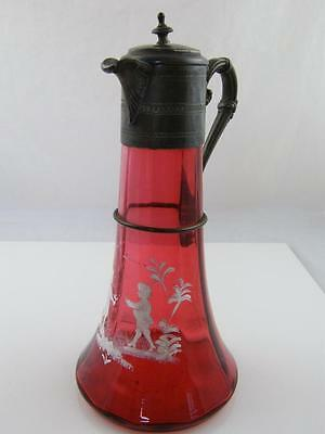 Art Nouveau Silver Plate & Cranberry Glass Mary Gregory Decanter