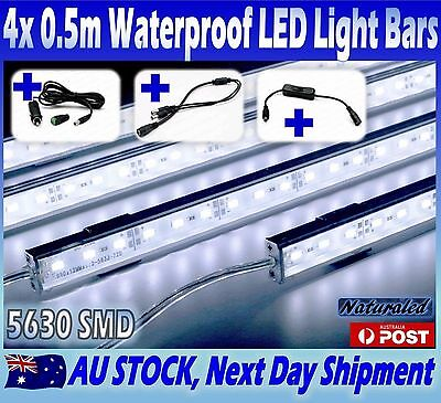 4X12V Waterproof Cool White 5630 Led Strip Lights Bars Car Camping Boat Cig