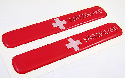 "Switzerland Swiss Flag Domed Decal Emblem Resin car stickers 5""x 0.82"" 2pc."