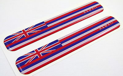 """Hawaii Flag Domed Decal Emblem Resin car stickers 5""""x 0.82"""" 2pc."""