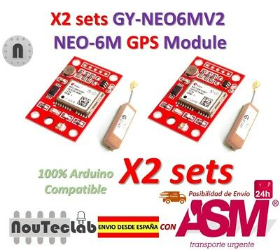 2 sets GY-NEO6MV2 NEO-6M GPS Module NEO6MV2 with Small Antenna for Arduino