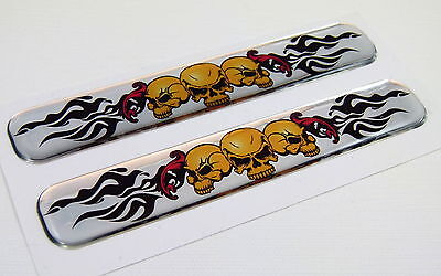 """3 skulls with flames Domed Decal Emblem Resin chrome car stickers 5""""x 0.82"""" 2pc."""
