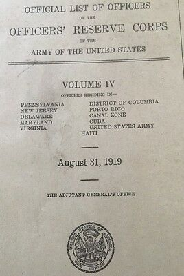 Official List Of Officers Reserve Corps Army 1919 Ultra RARE