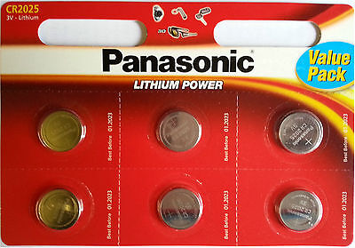 6 X Panasonic Cr2025 3V Lithium Power Batteries Coin Cell Battery Watch Fob Key