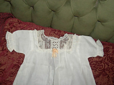 VINTAGE 1900's GIRL'S SLIP GOWN, WHITE, EMBROIDERED NEWBORN/BABY