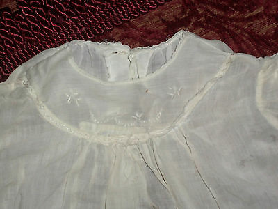 VINTAGE 1900's GIRL'S SLIP GOWN, WHITE, EMBROIDERED,  NEWBORN/3 MONTHS BABY