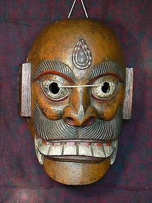 Nepal - Big antique wood Bhairava Mask / Gran Máscara antigua Bhairava de madera