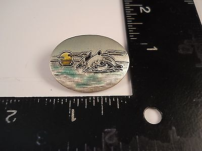 Dolphins Ocean Sunset Pin