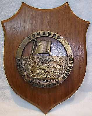 Regia Marina Italian Navy First Naval Division Command Brass Badge Plaque Q251