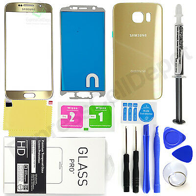 Samsung Galaxy S6 G920 -OEM Gold- Front & Back Glass Lens Screen Replacement Kit