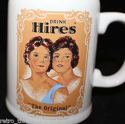 "Drink Hires Root Beer ""The Original"" White Ceramic Stein Soda Mug Cup Girls"