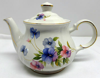 Sadler Floral Teapot With Pansies Gold Trim Windsor
