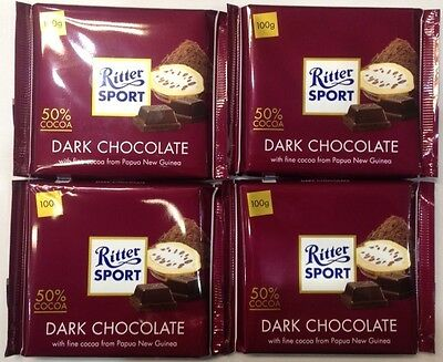 4 x 100g BARS OF RITTER SPORT DARK CHOCOLATE - 50% COCOA  FROM PAPUA NEW GUINEA