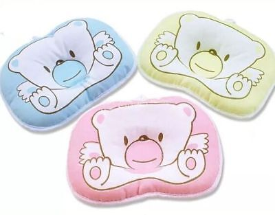 Newborn Baby Infant Prevent Flat Head Cotton Pillow Support 3 Colour Options NEW