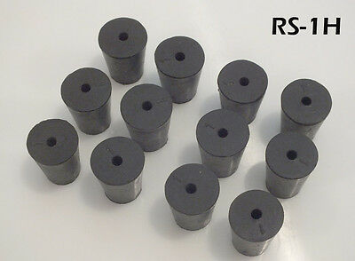12 #1 Black Natural Rubber Laboratory Stoppers Size 1 1-HOLE STOPPER RS-1H