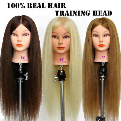 "28""-26"" Human Hair Training Head Practice Mannequin Doll Hairdressing + Clamp"