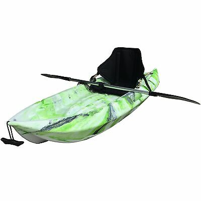 1.8M Kids Kayak Single Sit-on Touring With Backrest Seat Paddle Leash Lime Camo