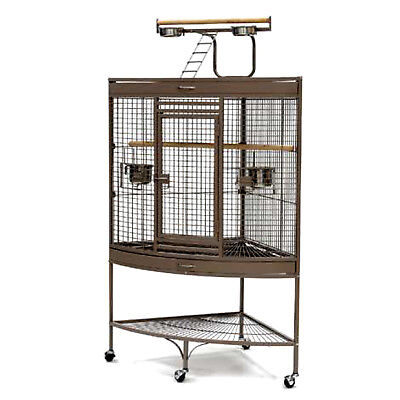 Corner Parrot Aviary Bird Cage Perch Roof Gym Budgie On Wheels 157cm A13