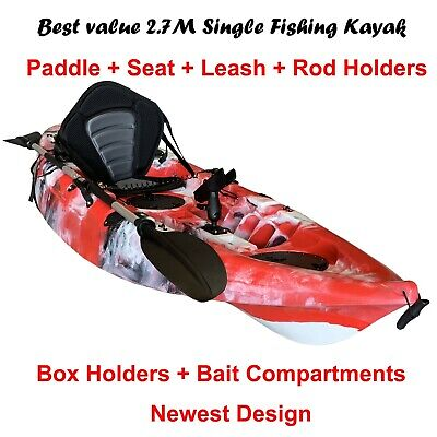 2.7M Fishing Kayak Single Sit-on 5 Rod Holders Padded Seat Paddle Red Camo