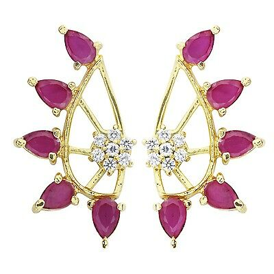 Indian Earring Bollywood Style Ethnic Earcuff Gold Plated Crystal Jewelry