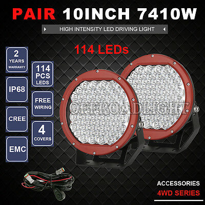 10inch 3990w New RED Round Cree Led Driving Spot Work Light Offroad 4x4 ATV HID