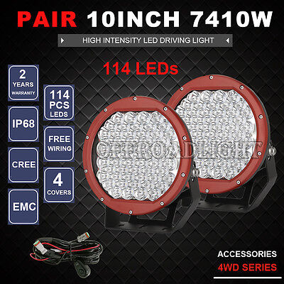 10inch 6270w New RED Round Cree Led Driving Spot Work Light Offroad 4x4 ATV HID