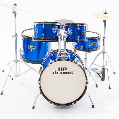 Junior Drum Kit Blue 5 Piece Kids Childrens Package Set Cymbals Stool Sticks New