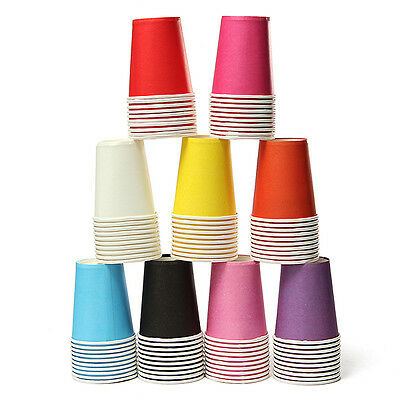 10~50pcs Paper Cups Plain Solid Colors Tableware Wedding Birthday Party Decor