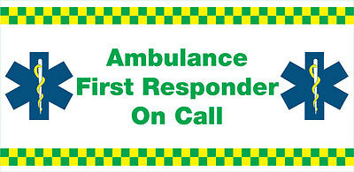 Ambulance First Responder on Call (Vehicle Magnetic Sign) x 1. Size 410x200mm