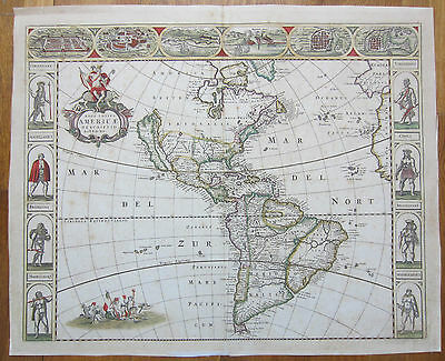 DE WIT Africa America Asia Europe 4 Maps Continents with Border - 1660