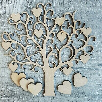 Wooden MDF Tree Love Heart Valentines Decor Family Wedding Guestbook & Decor