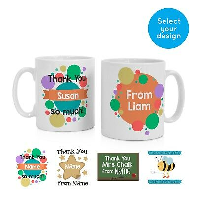 Personalised Name Thank You Coffee Tea Mug Gift Idea Gifts for Teacher Teachers