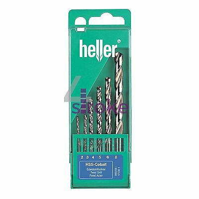 Heller 6 Piece HSS-Co Cobalt Drill Bit Set - 2mm - 8mm High Quality German Tools