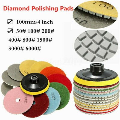 12x Diamond Polishing Pads Wet Dry 4'' Inch Set Kit For Granite Concrete Marble
