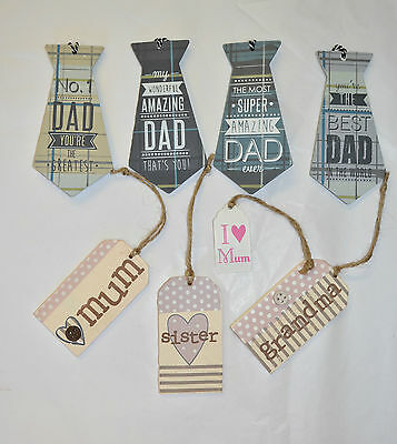 Wooden Gift Tags Cardmaking Scrapbooking Mum Dad Grandma Sister Decorative Tags