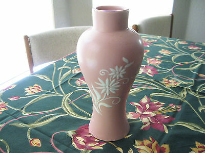 """Mid Century Abingdon Art Pottery Coolie Vase #308 Cameo Pink & White 9 1/2"""" Tall"""