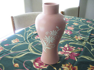 """Mid Century Abingdon Art Pottery Vase #308 Cameo Pink & White Signed 9 1/2"""" Tall"""