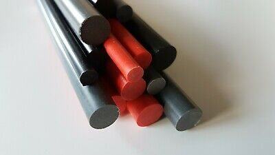 Plastic PVC Round Rod Bar Red, Black, Grey 6 to 25mm Diameter, 100 to 600mm Long