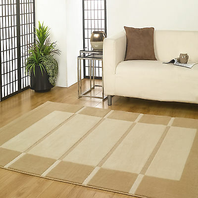 BEIGE CREAM SMALL / LARGE MODERN Visiona CARVED DESIGNER RUG 16-18mm THICK RUGS