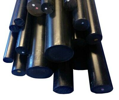 BLACK Plastic PVC Round Rod Bar 10, 12, 15, 18, 20 & 25mm Dia, 100 to 600mm Long