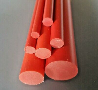 RED Plastic PVC Round Rod Bar 12, 20 & 25mm Diameter 100mm to 600mm Long