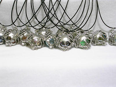 12 SKULL W/ HANDS Marble pendant BlackCord Necklaces Pewter Figurines AWESOME!