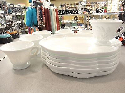 Indiana Harvest White Milk Glass Snack Plates with Cups  Set of 6