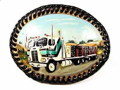 Vintage Hand Painted Truck Leather Belt Buckle By Bubbles Leather Craft 71916