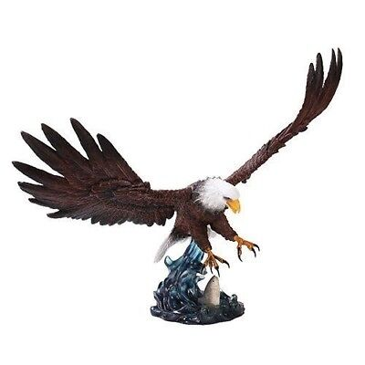 "Large Swooping Grand Bald Eagle Bird With Spread Wings Statue 19"" Long Figurine"